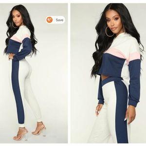 Fashion Nova Sweatpants Cropped Hoodie 2 Piece Set